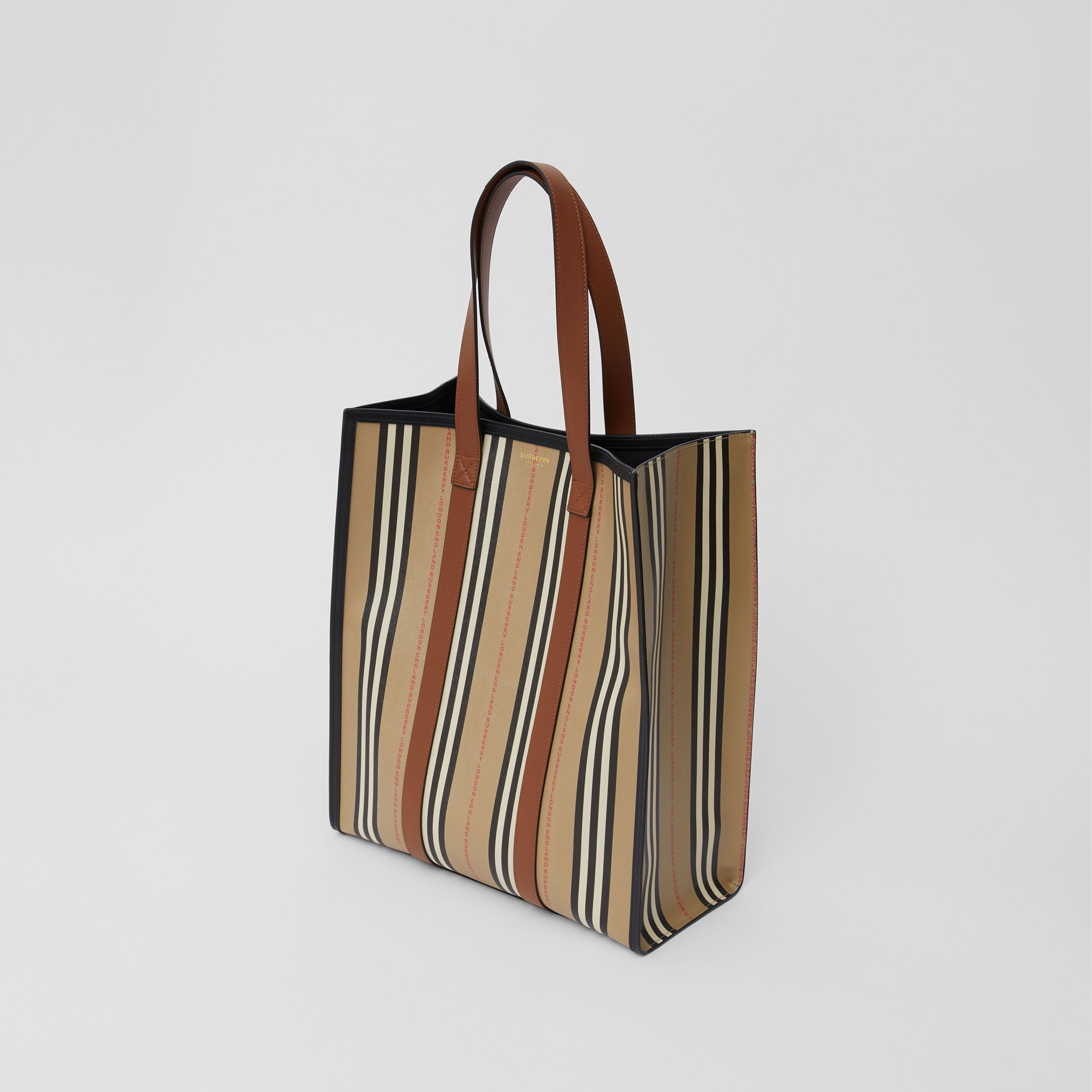 Logo and Stripe E-canvas Portrait Tote Bag in Tan/archive Beige - Women | Burberry Hong Kong S.A.R. - 4