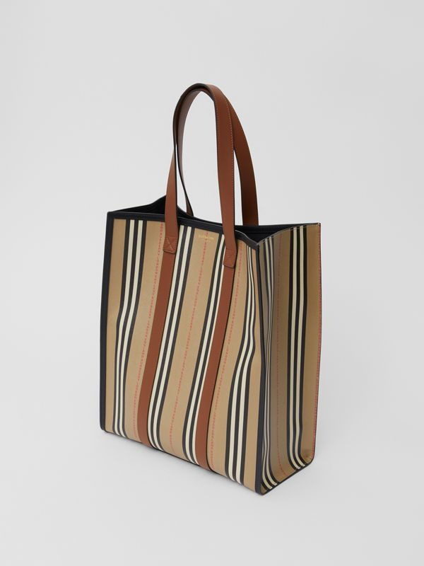Logo and Stripe E-canvas Portrait Tote Bag in Tan/archive Beige - Women | Burberry United Kingdom - cell image 3