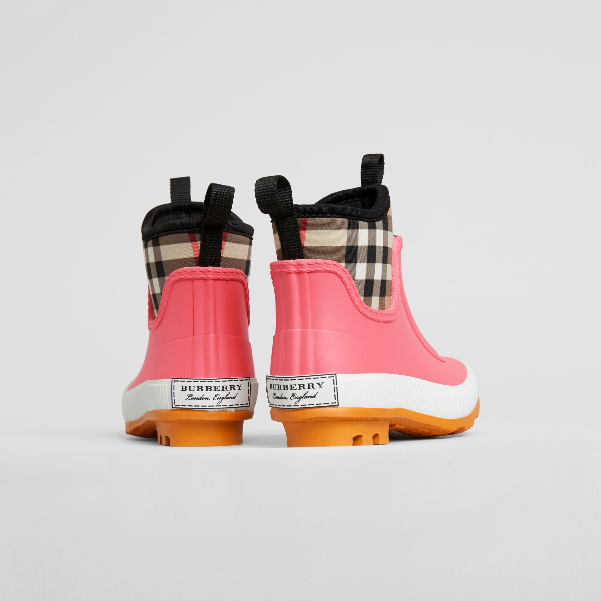 Vintage Check Neoprene and Rubber Rain Boots in Pink Azalea - Children | Burberry Singapore - gallery image 1