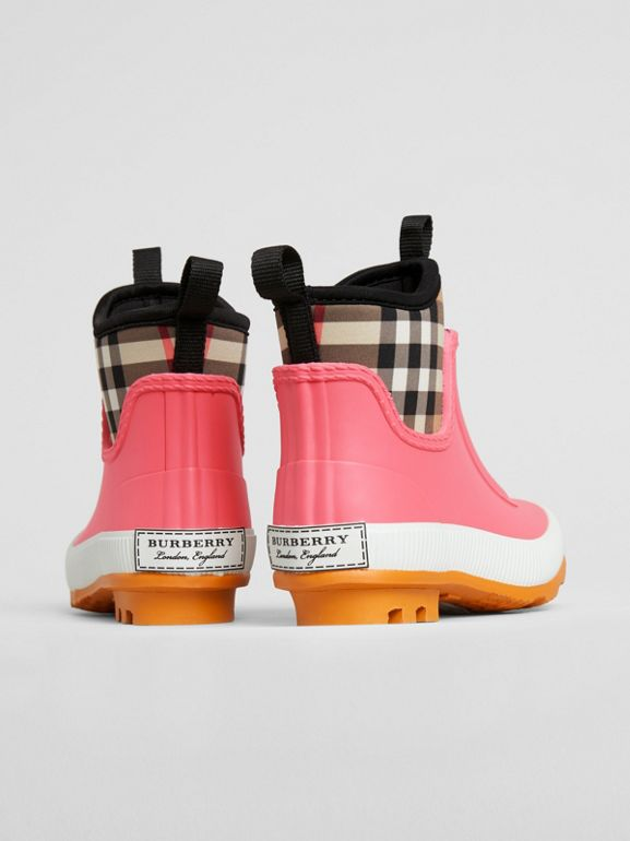 Vintage Check Neoprene and Rubber Rain Boots in Pink Azalea - Children | Burberry Singapore - cell image 1