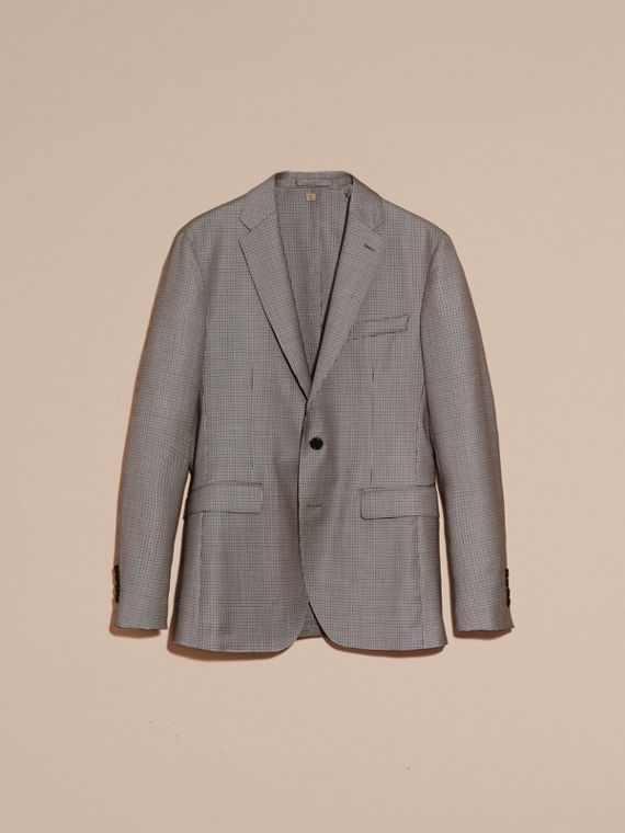 Slim Fit Houndstooth Wool Tailored Jacket - Men | Burberry - cell image 3