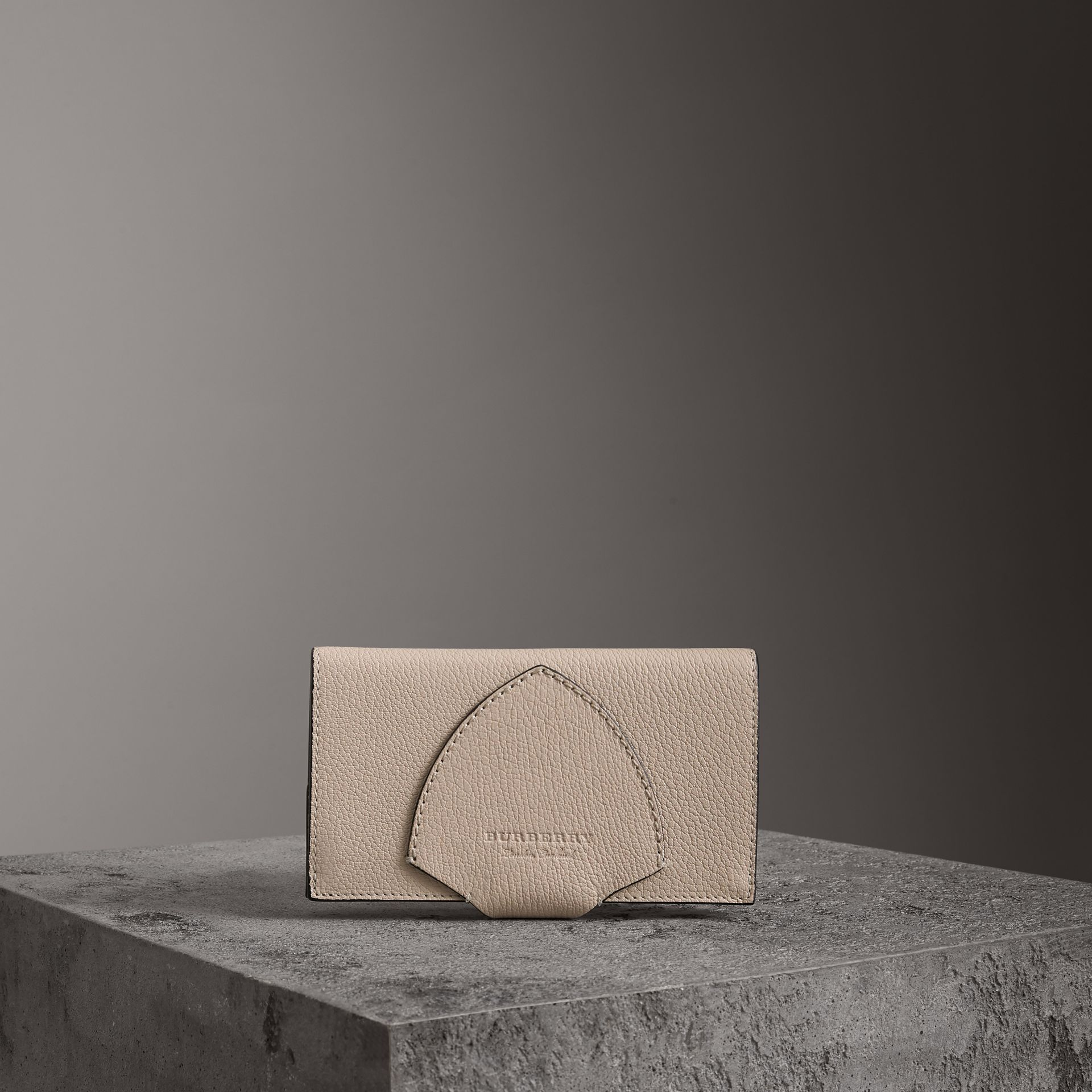 Equestrian Shield Two-tone Leather Continental Wallet in Stone - Women | Burberry Singapore - gallery image 0