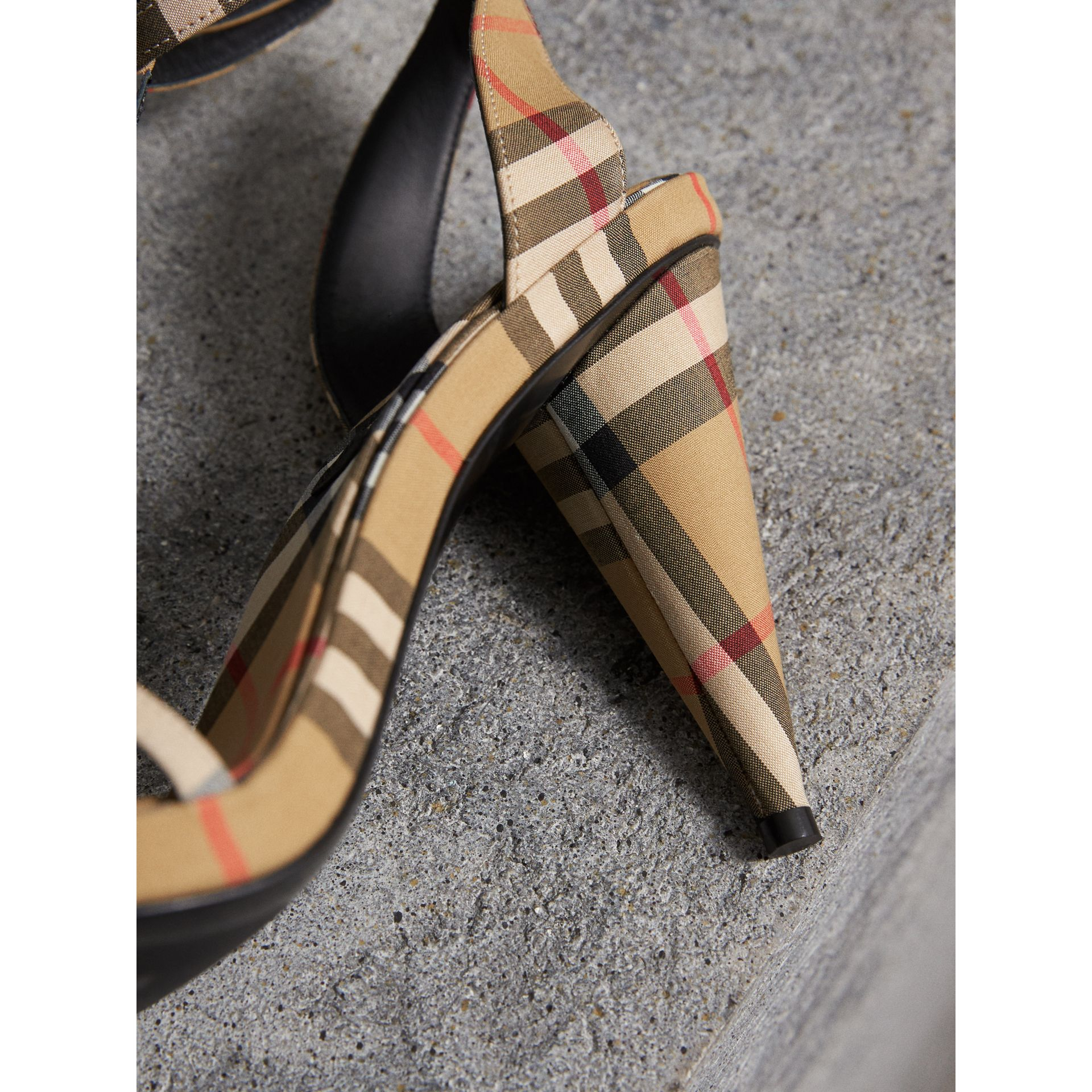 Vintage Check Cotton High-heel Sandals in Antique Yellow - Women | Burberry - gallery image 1