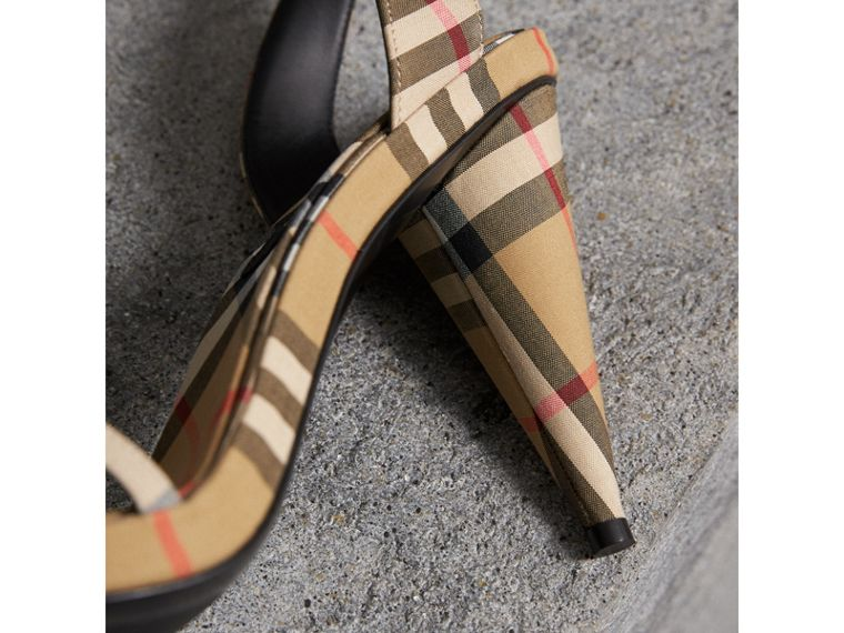 Vintage Check Cotton High-heel Sandals in Antique Yellow - Women | Burberry - cell image 1