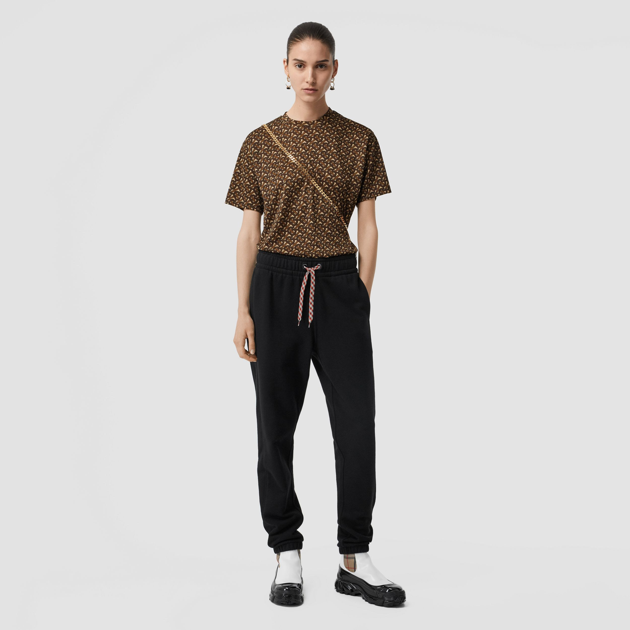 Monogram Print Jersey Oversized T-shirt in Bridle Brown - Women | Burberry - 1