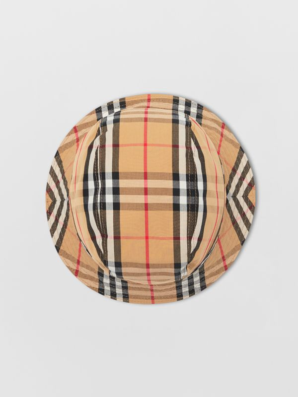 Vintage Check Cotton Bucket Hat in Antique Yellow | Burberry - cell image 3