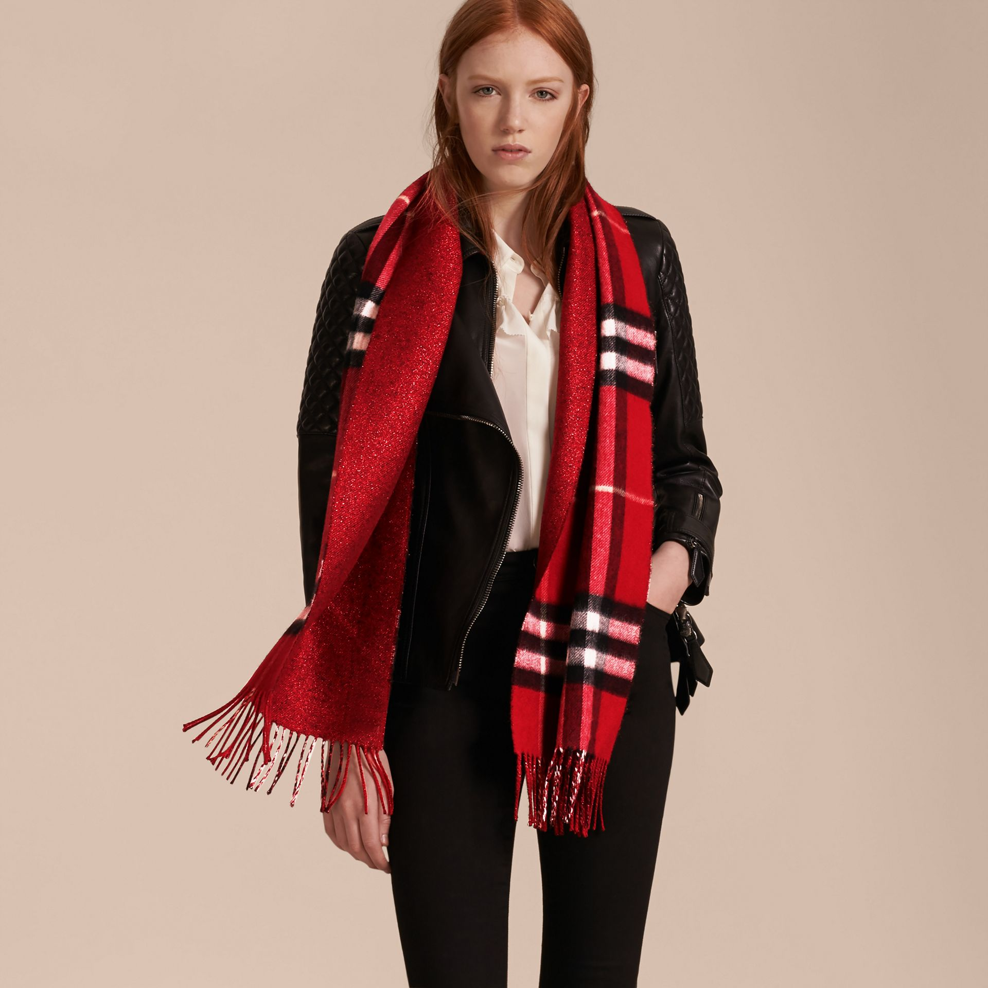 Reversible Metallic Check Cashmere Scarf in Parade Red - gallery image 3