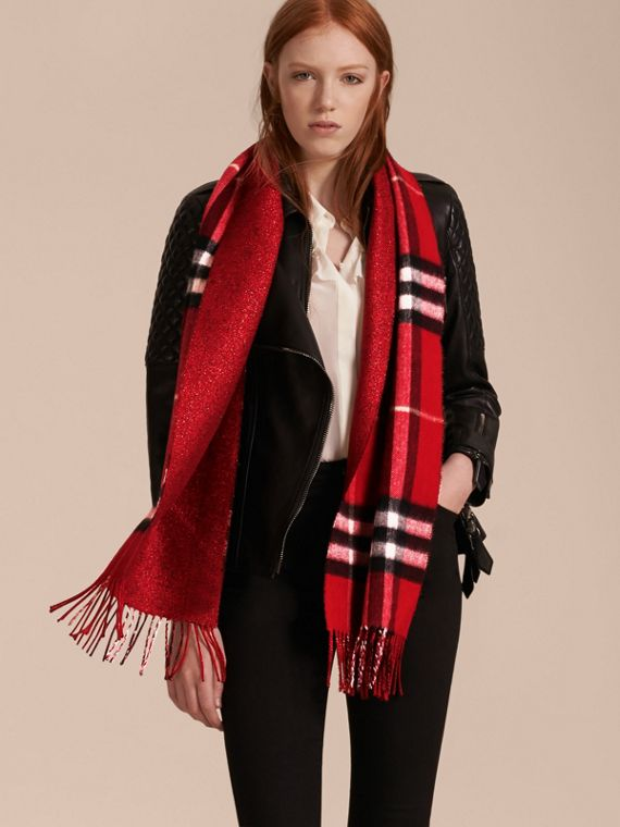 Reversible Metallic Check Cashmere Scarf in Parade Red - cell image 2