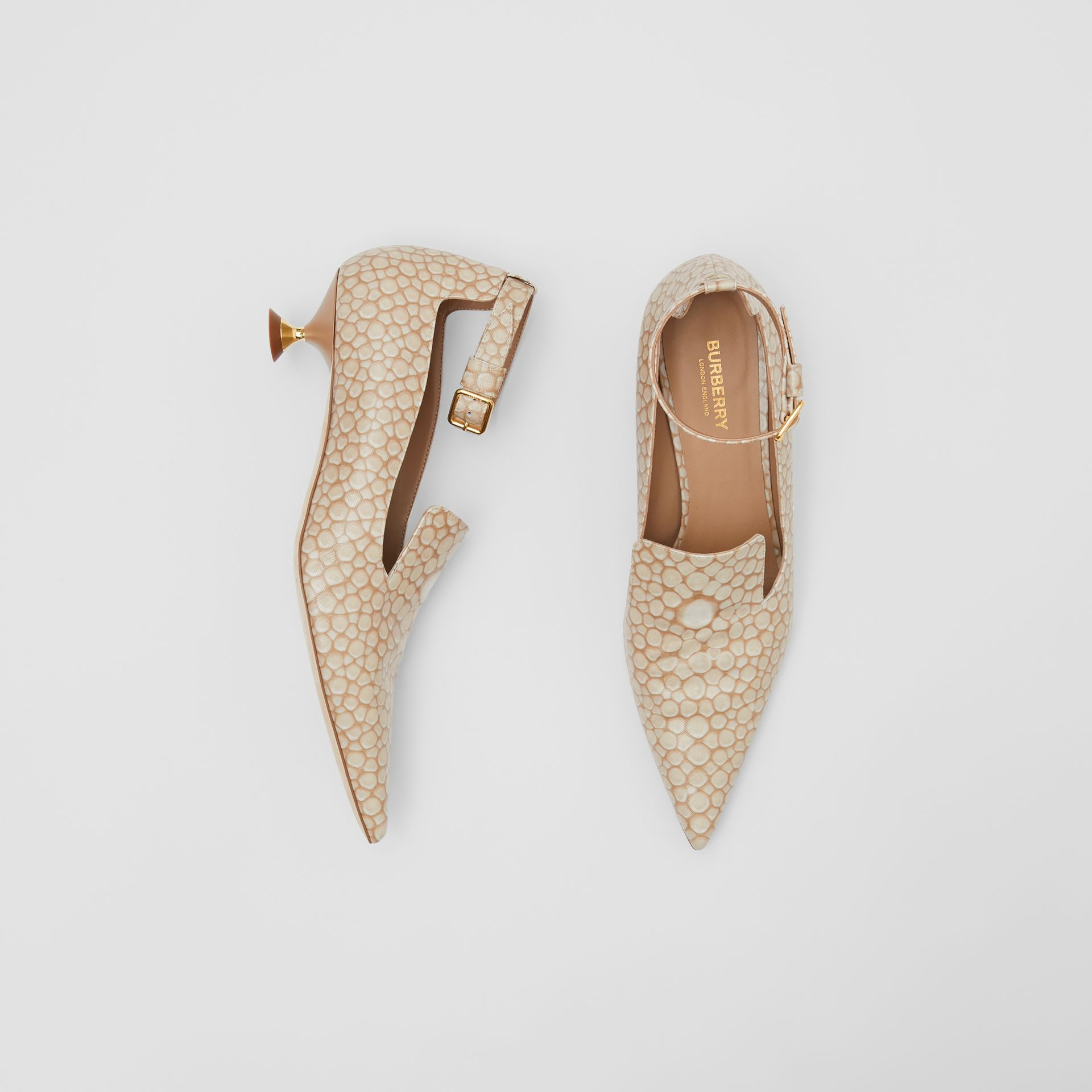 Stingray Print Leather Point-toe Kitten-heel Pumps in Nude - Women | Burberry - gallery image 0