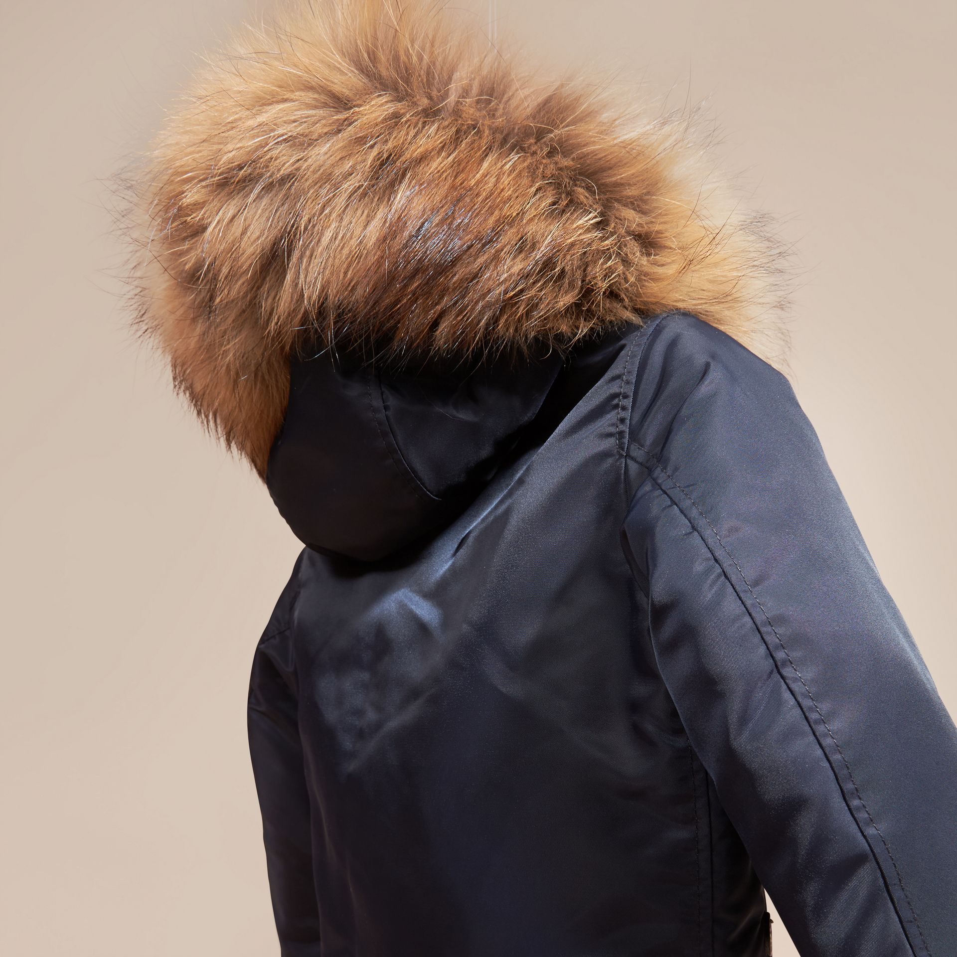 Navy Hooded Technical Twill Bomber Jacket with Fur Trim - gallery image 4