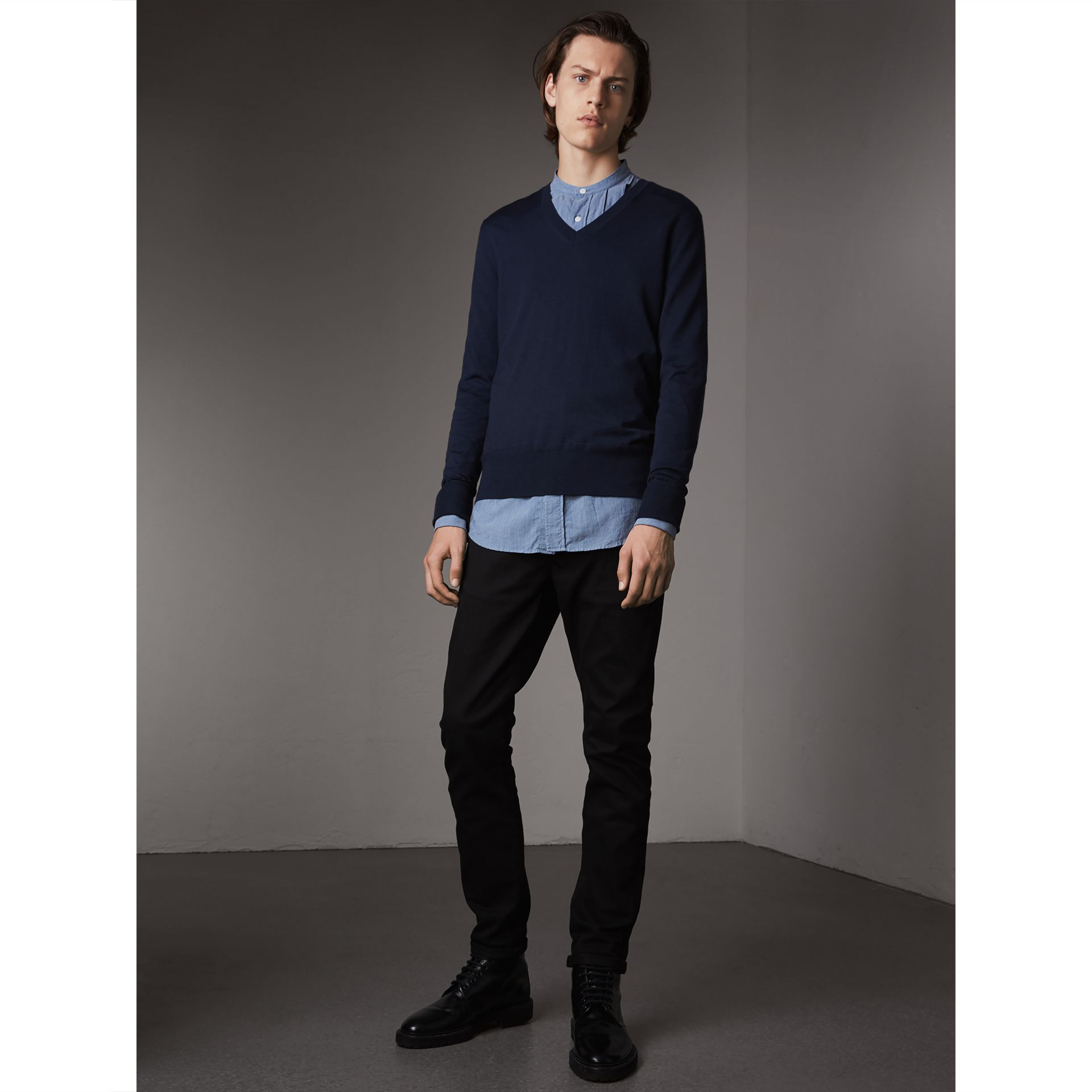 Merino Wool V-neck Sweater in Navy - Men | Burberry Singapore - gallery image 1