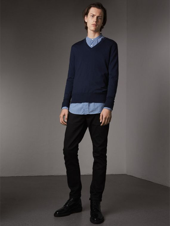 Merino Wool V-neck Sweater in Navy