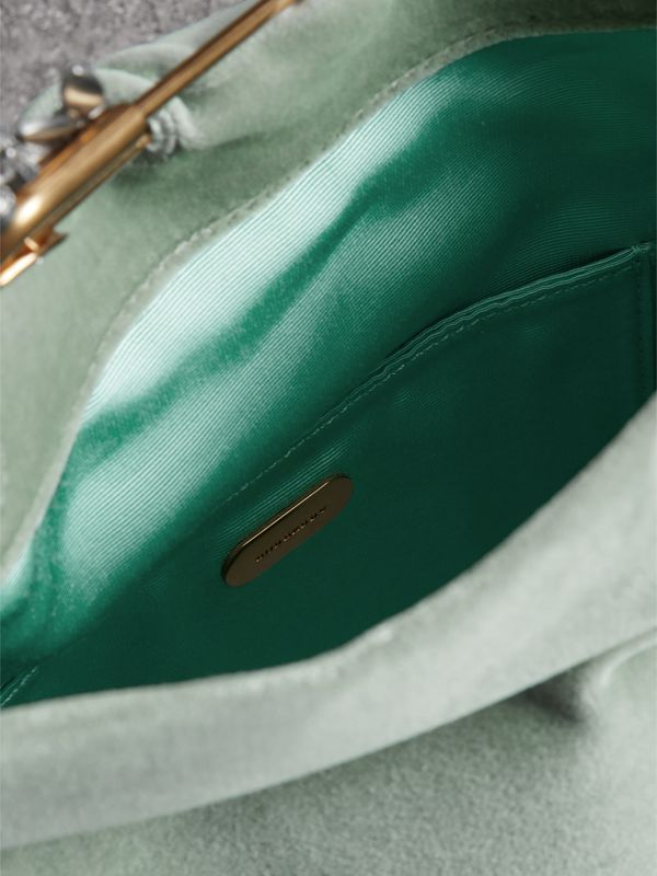 The Small Pin Clutch in Velvet in Grey Blue - Women | Burberry United States - cell image 3