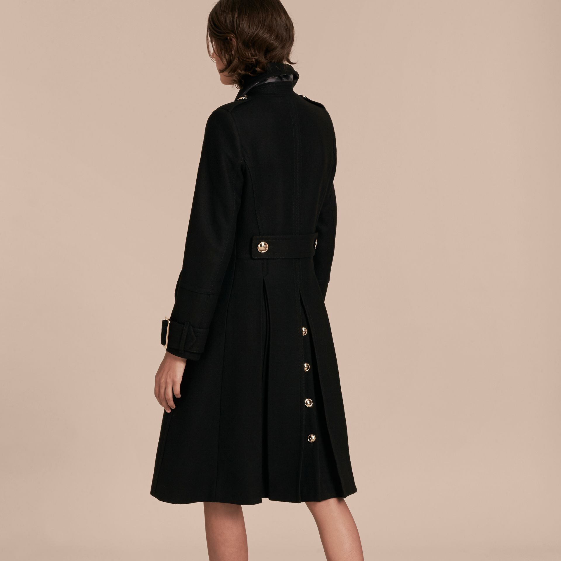 Black Wool Cashmere Blend Military Coat - gallery image 3