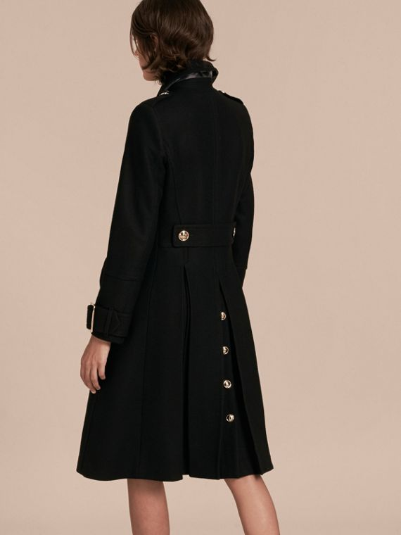 Black Wool Cashmere Blend Military Coat - cell image 2