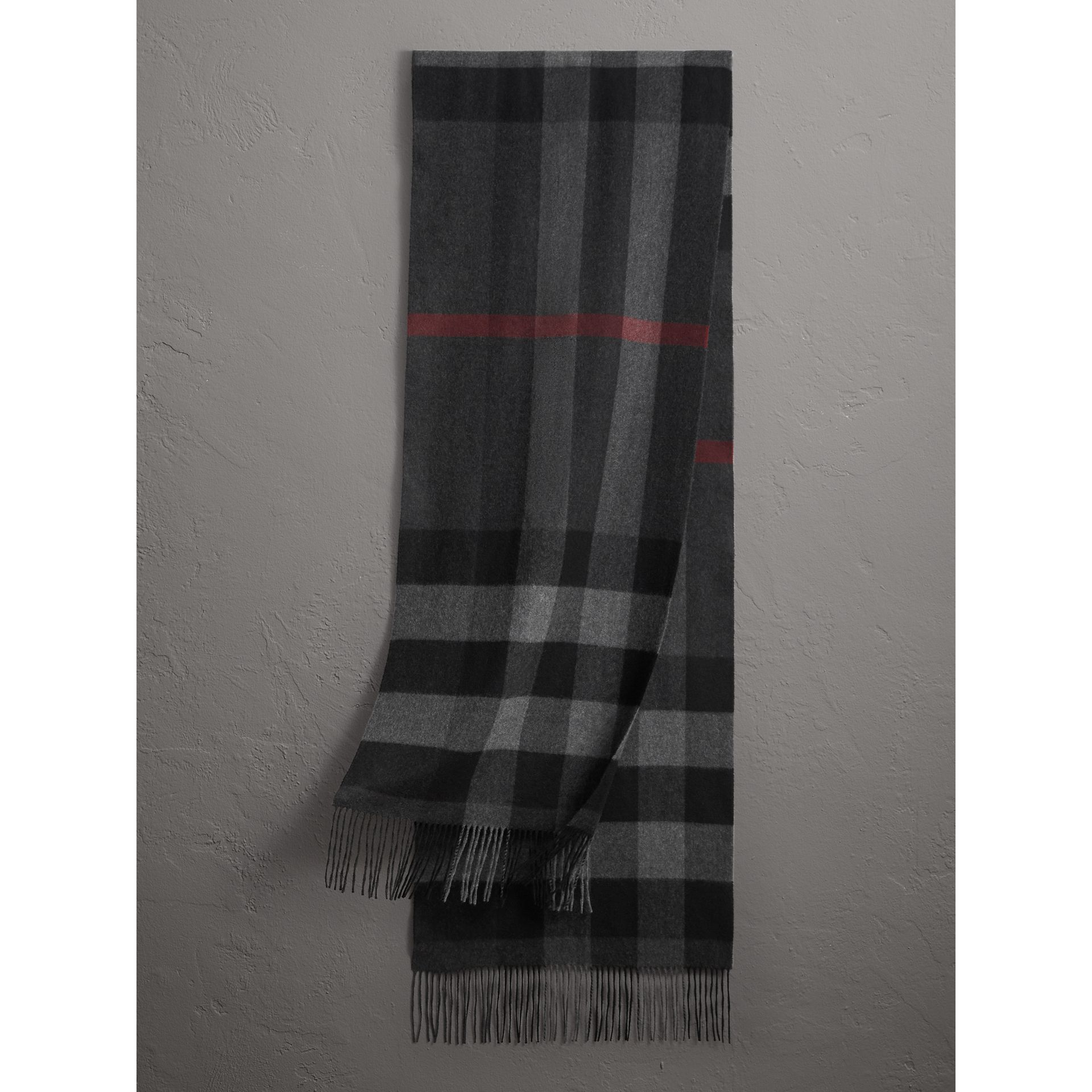 Oversize Check Cashmere Scarf in Charcoal | Burberry - gallery image 1