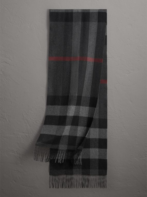 Oversize Check Cashmere Scarf in Charcoal