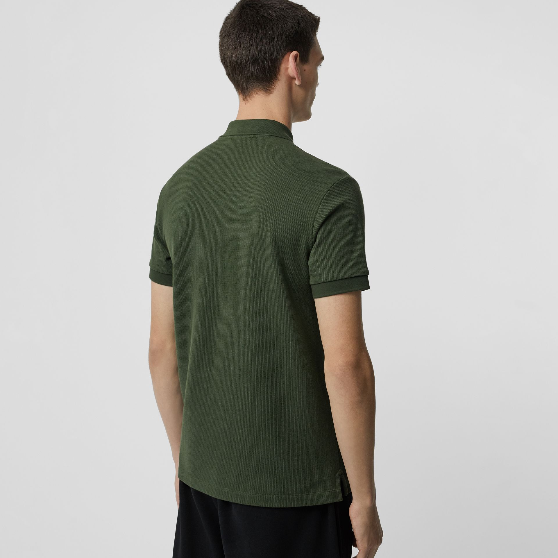 Check Placket Cotton Polo Shirt in Dark Antique Green - Men | Burberry - gallery image 2