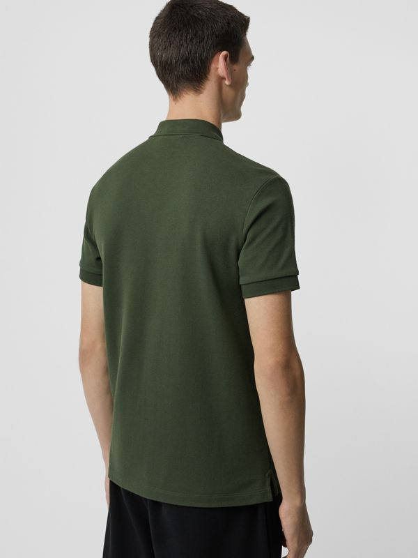 Check Placket Cotton Polo Shirt in Dark Antique Green - Men | Burberry - cell image 2
