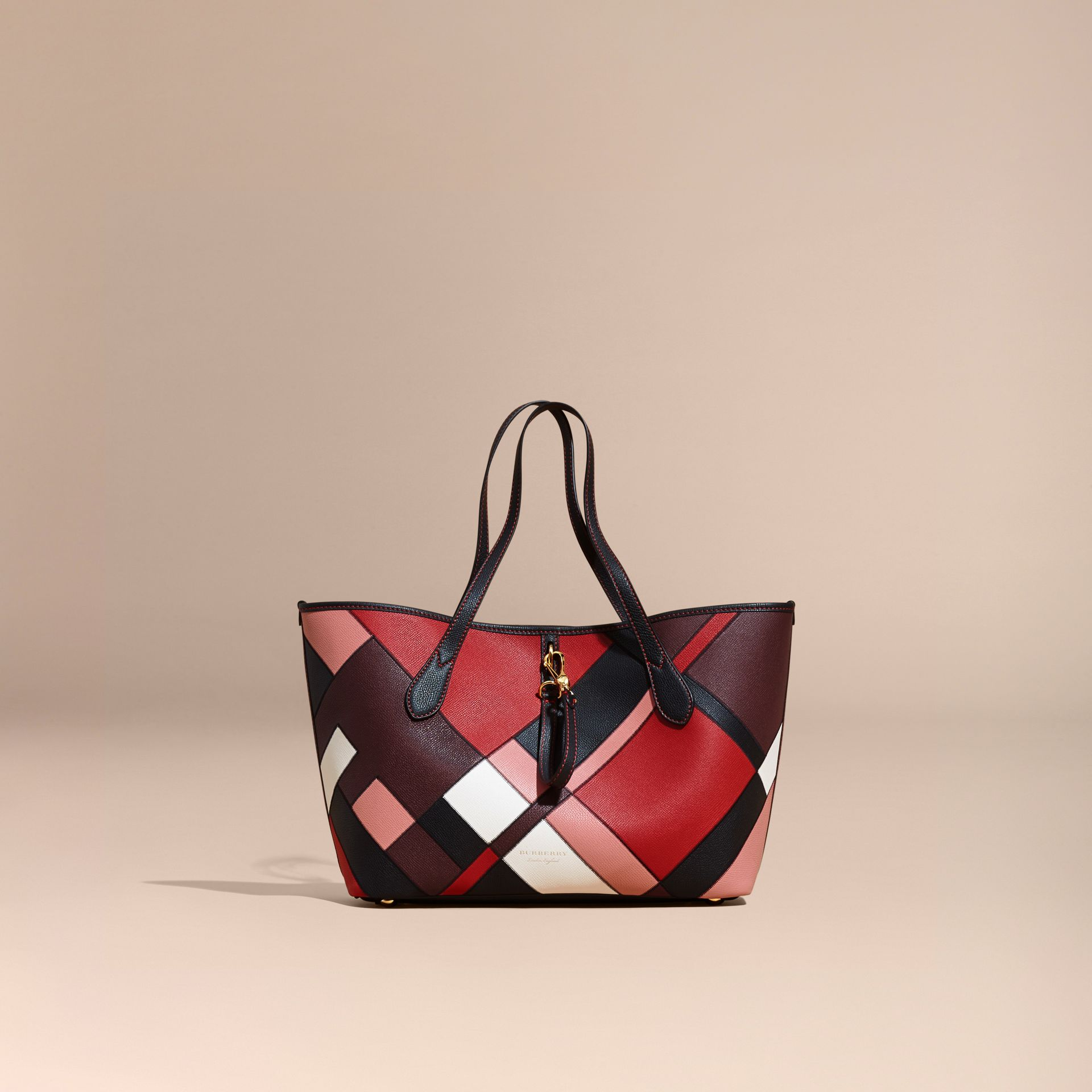 Medium Patchwork Grainy Leather Tote Bag in Pink - Women | Burberry - gallery image 8