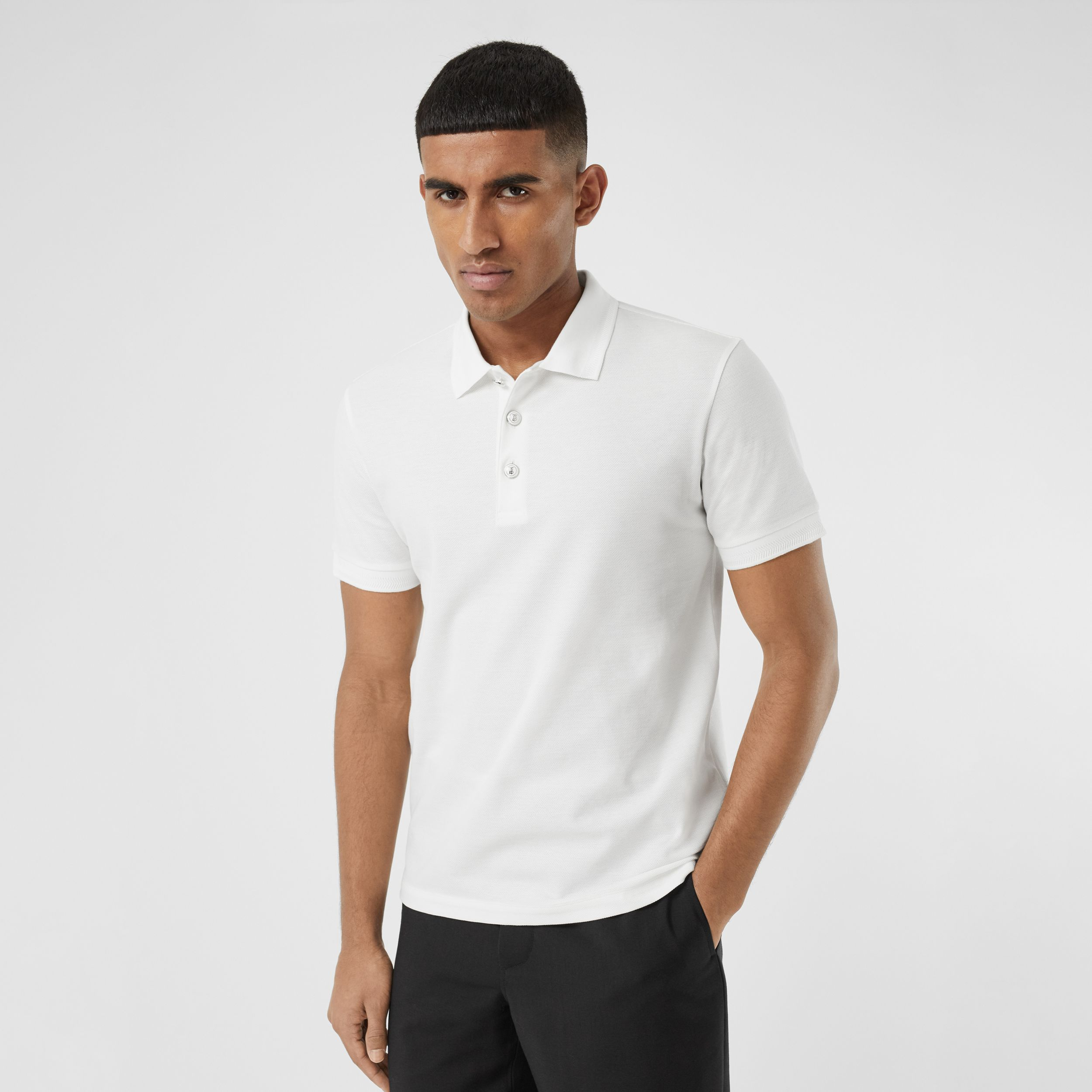 Cotton Piqué Polo Shirt in White - Men | Burberry - 1