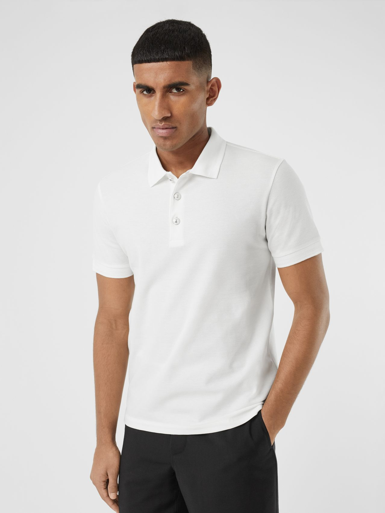 Cotton Piqué Polo Shirt (White)