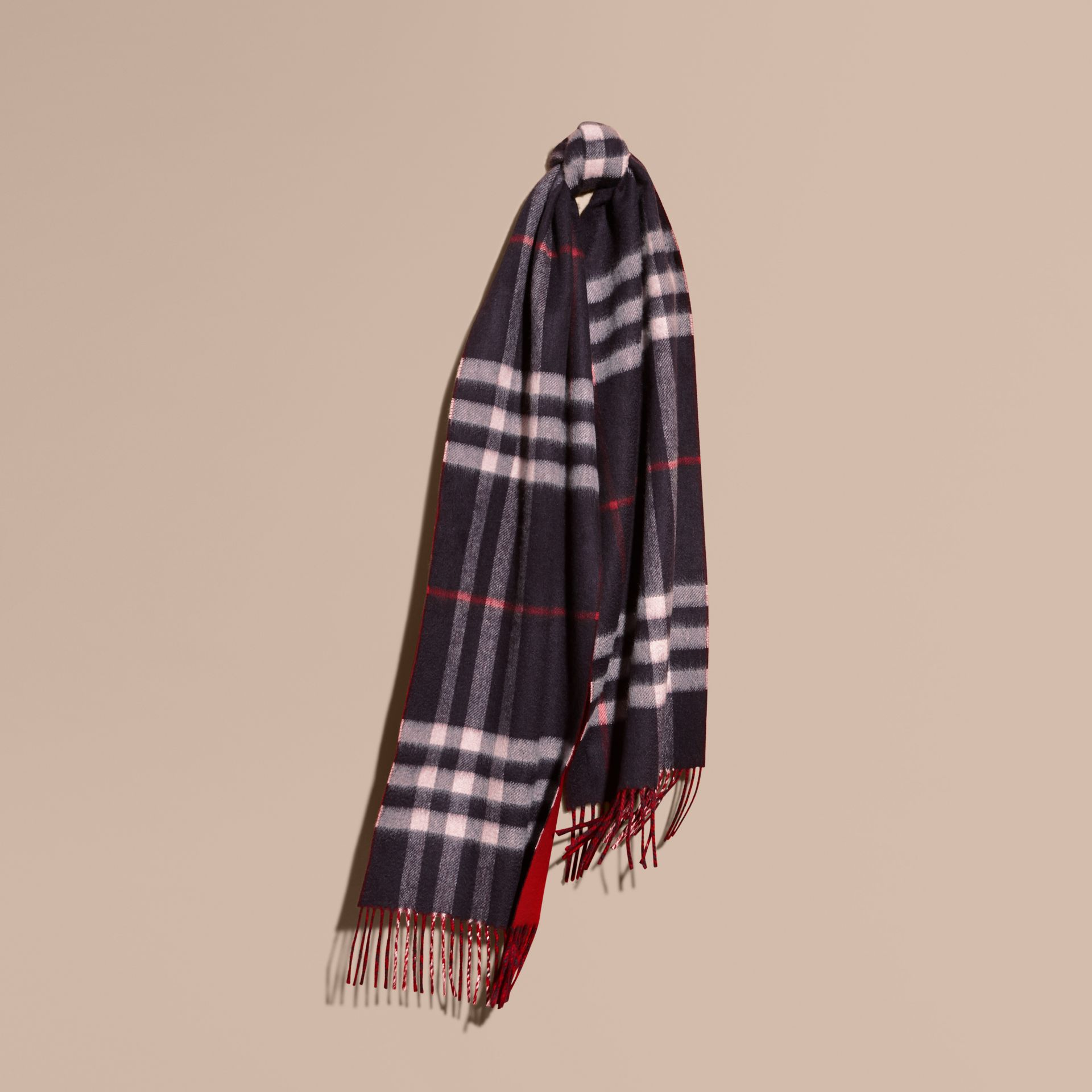 Reversible Check Cashmere and Block-colour Scarf Navy - gallery image 6