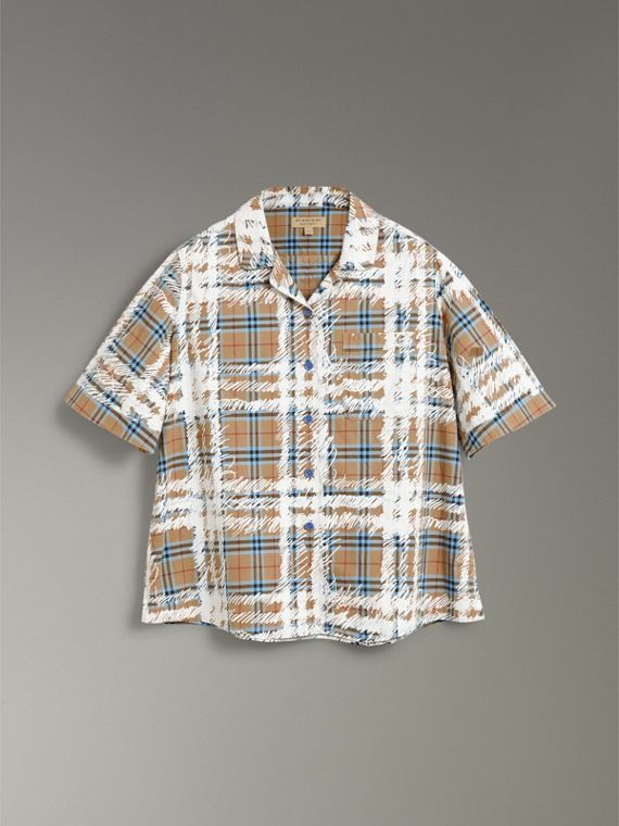 Short-sleeve Scribble Check Cotton Shirt in Bright Mineral Blue - Women | Burberry United Kingdom - cell image 3