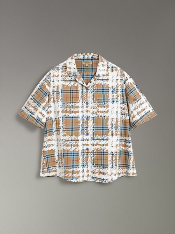 Short-sleeve Scribble Check Cotton Shirt in Bright Mineral Blue - Women | Burberry Singapore - cell image 3