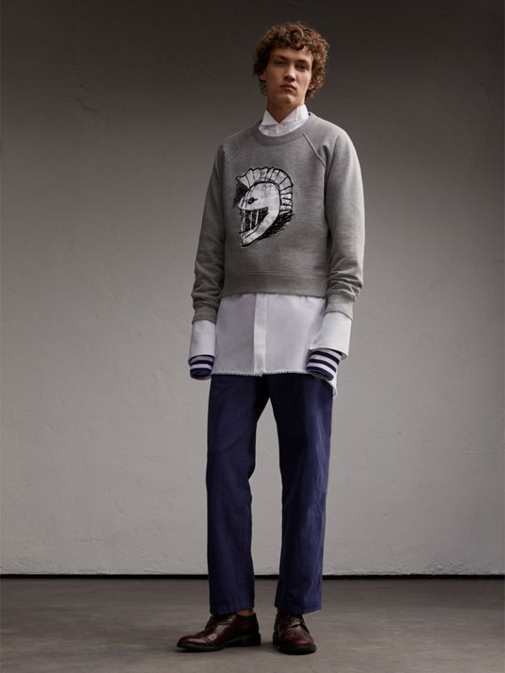 Unisex Pallas Helmet Motif Sweatshirt in Grey Melange - Women | Burberry - cell image 2