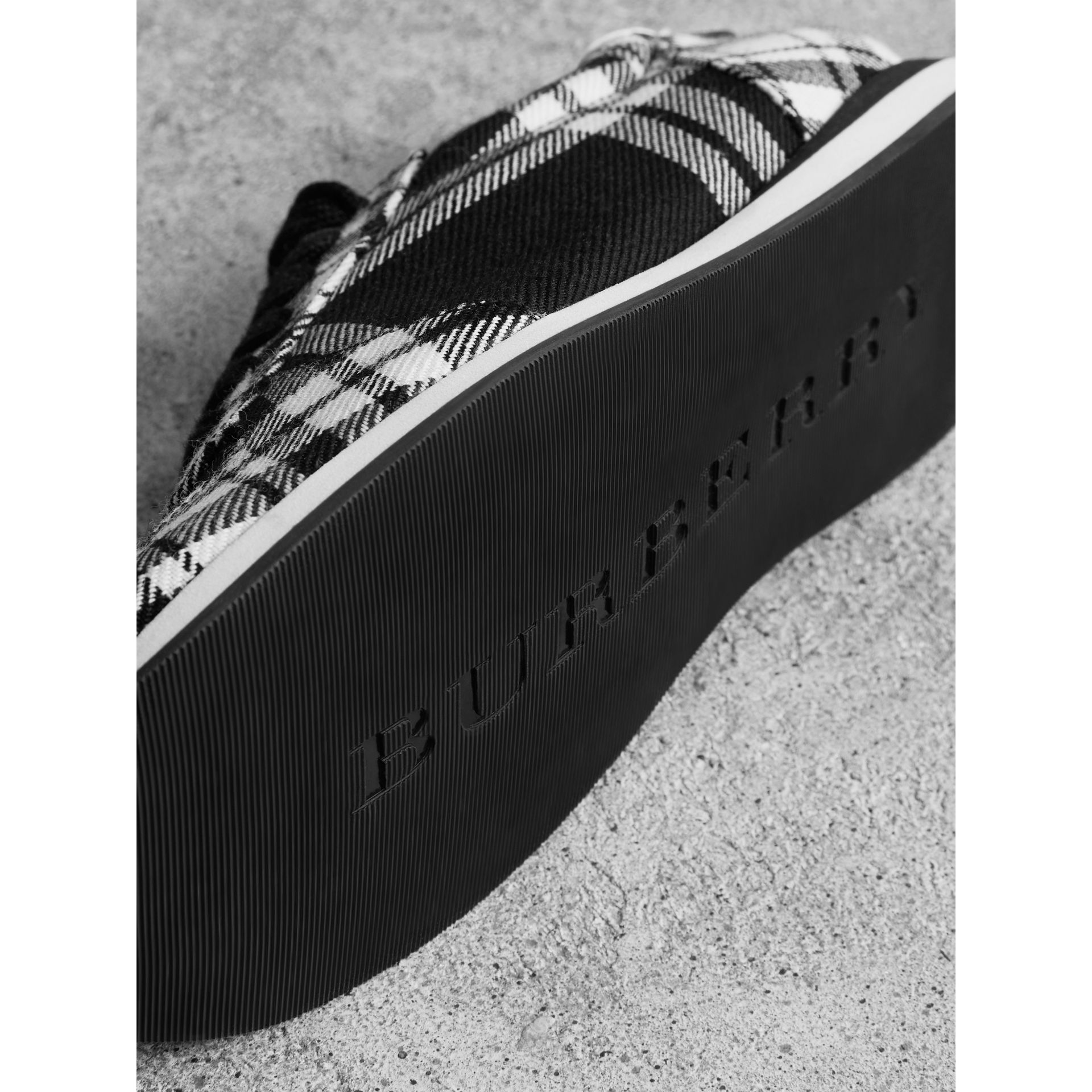 Tartan Wool Sneakers in Black - Women | Burberry - gallery image 1