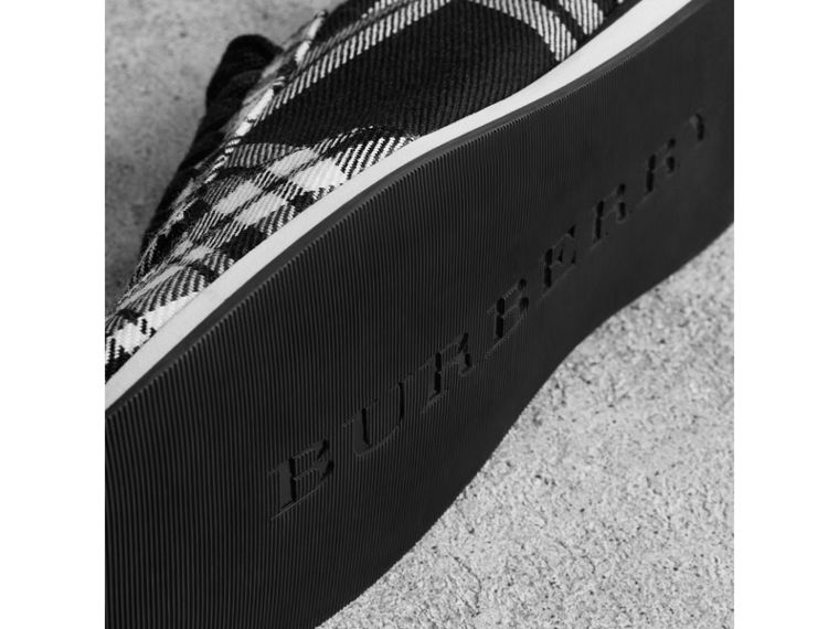 Tartan Wool Trainers in Black - Women | Burberry - cell image 1