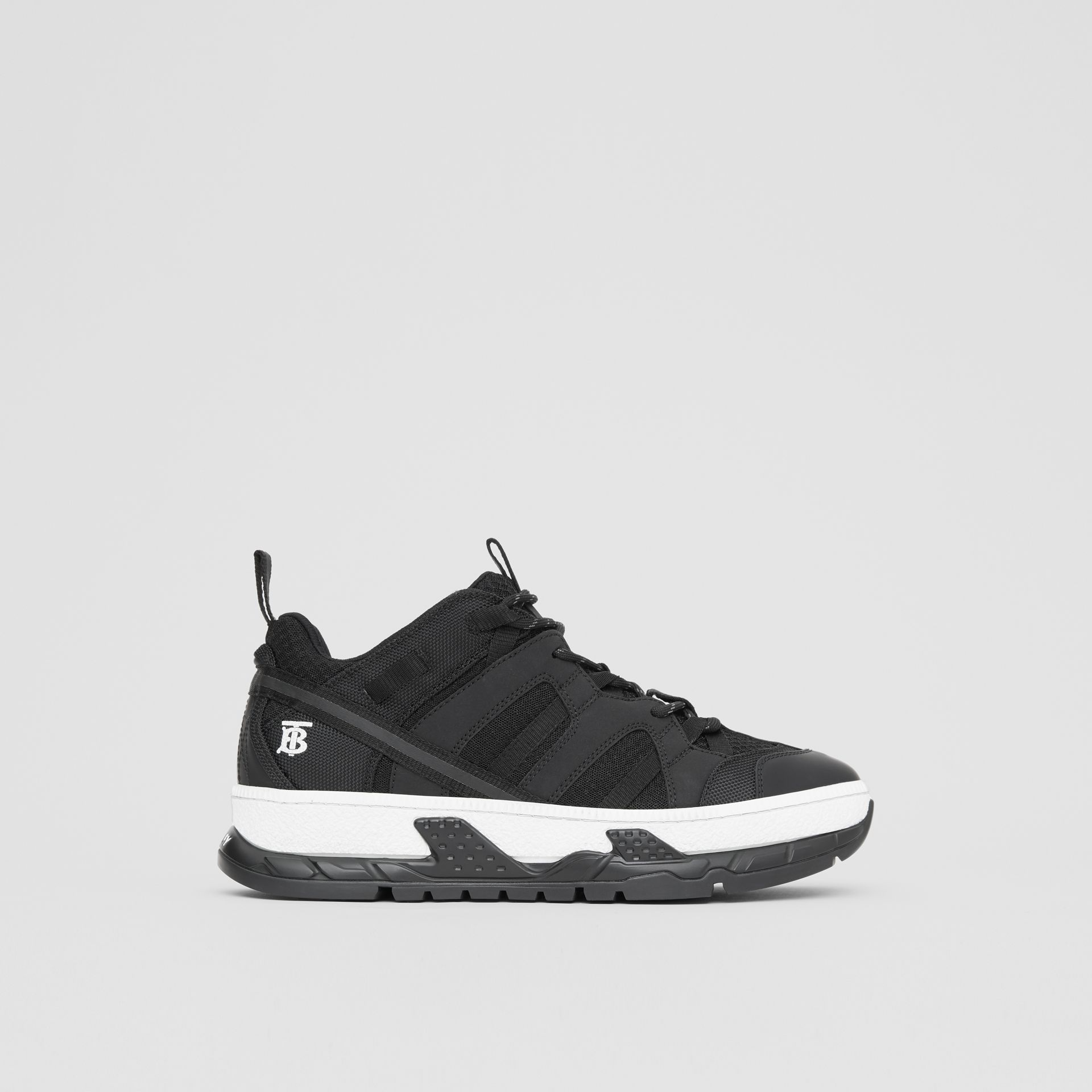 Mesh and Nubuck Union Sneakers in Black - Men | Burberry - gallery image 4