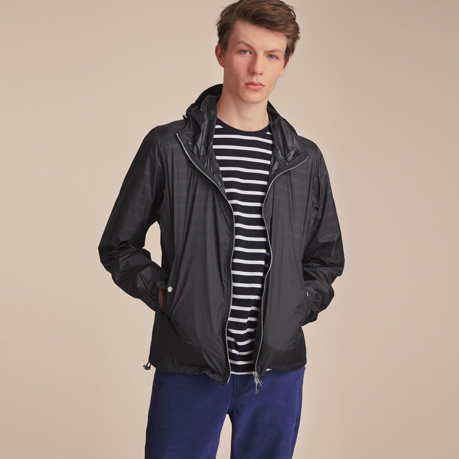Hooded Super-lightweight Jacket Navy - gallery image 6