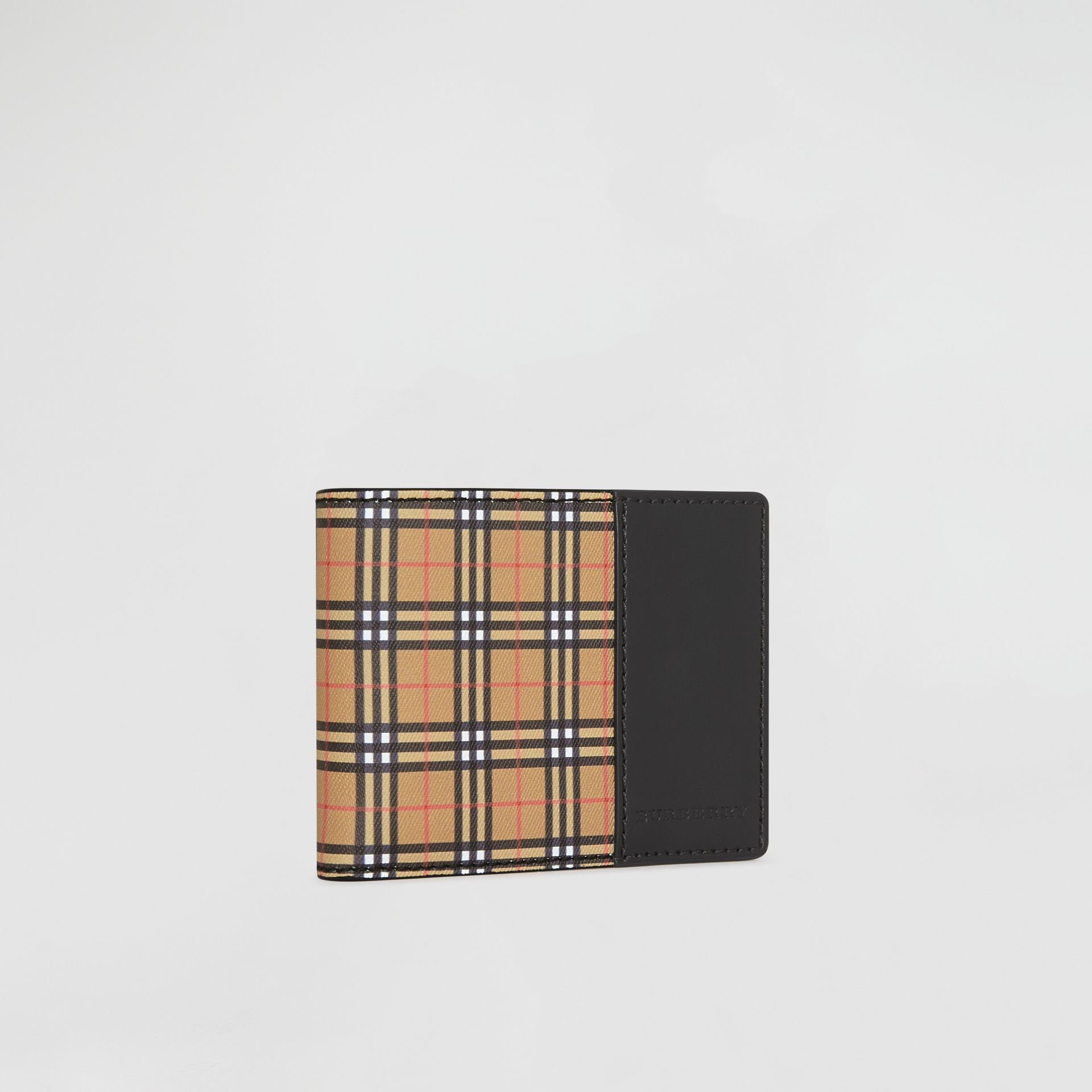 Small Scale Check and Leather Bifold Wallet in Antique Yellow/black - Men | Burberry Canada - gallery image 3
