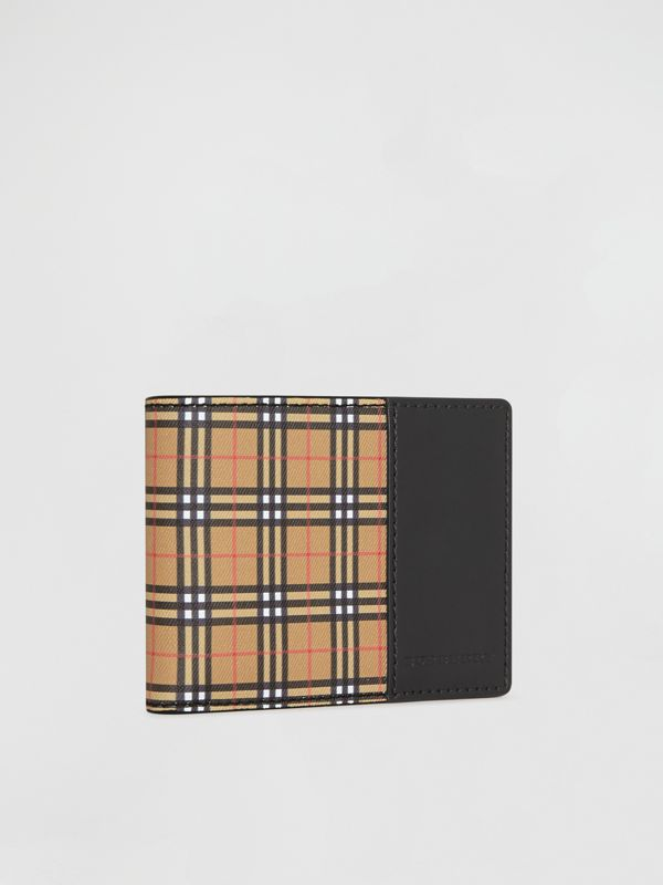 Small Scale Check and Leather Bifold Wallet in Antique Yellow/black - Men | Burberry Canada - cell image 3
