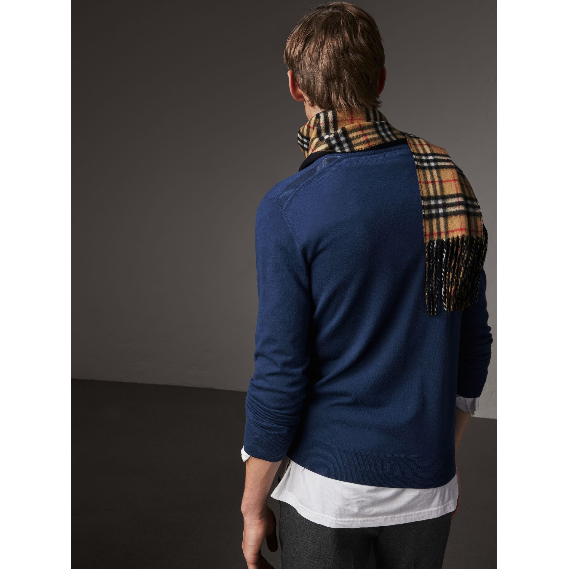 Check Jacquard Detail Cashmere Sweater in Navy - Men | Burberry - gallery image 3