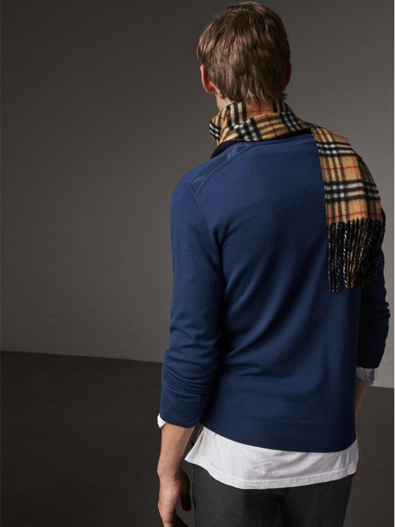 Check Jacquard Detail Cashmere Sweater in Navy - Men | Burberry - cell image 2