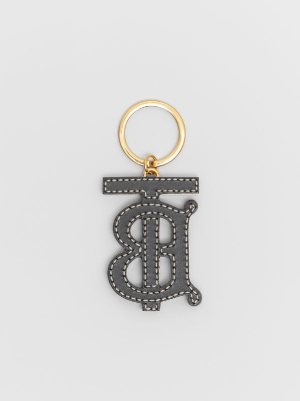 Monogram Motif Two-tone Leather Key Charm in Black/brown | Burberry - cell image 2