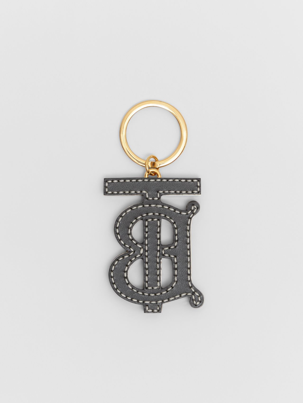 Monogram Motif Two-tone Leather Key Charm in Black / Brown