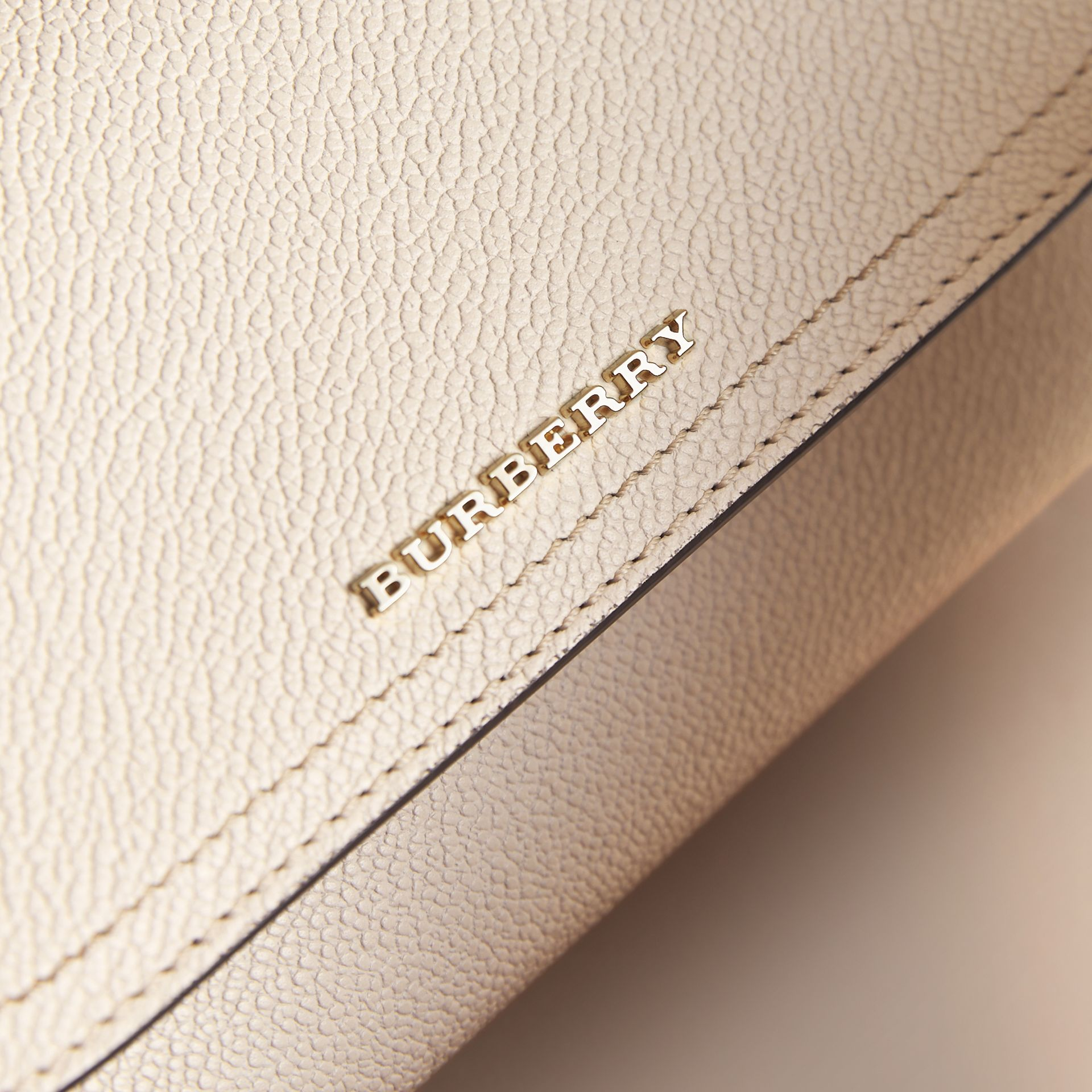 Leather Wallet with Chain in Limestone - Women | Burberry - gallery image 2