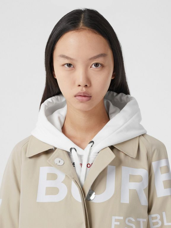 Horseferry Print Cotton Gabardine Car Coat in Stone - Women | Burberry - cell image 1