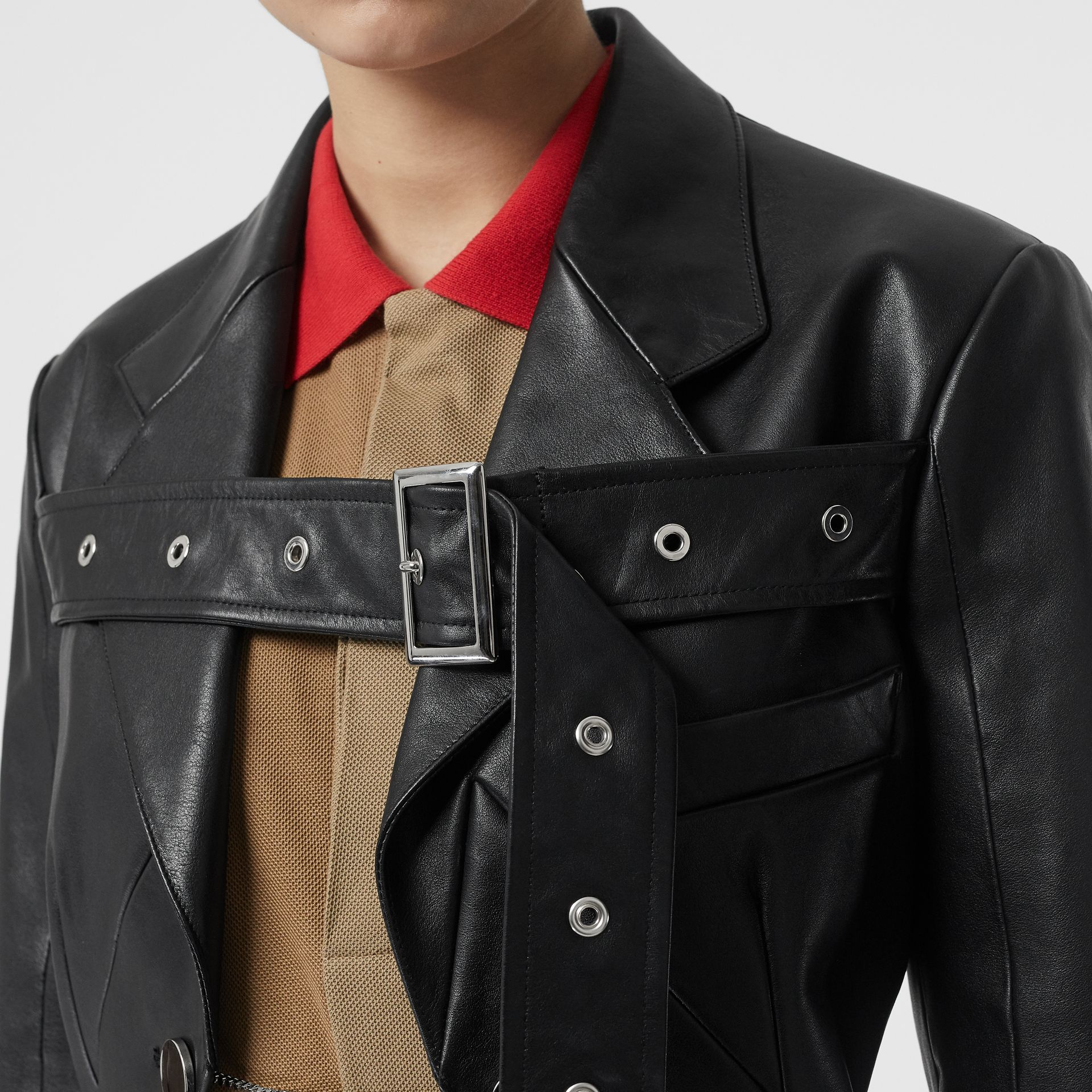 Biker Belt Detail Leather Morning Jacket in Black - Women | Burberry - gallery image 5