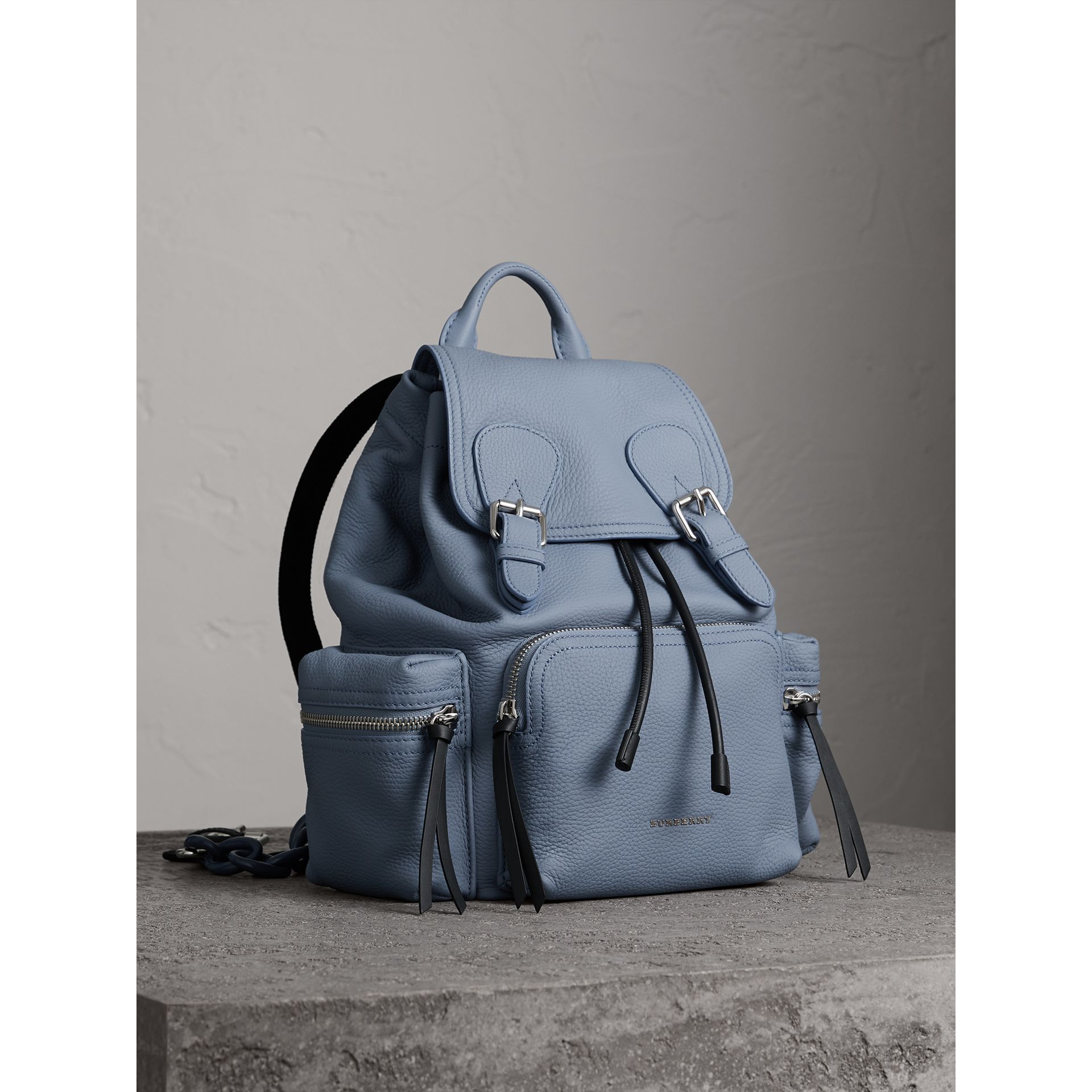 The Medium Rucksack in Deerskin with Resin Chain in Slate Blue - Women | Burberry - gallery image 0