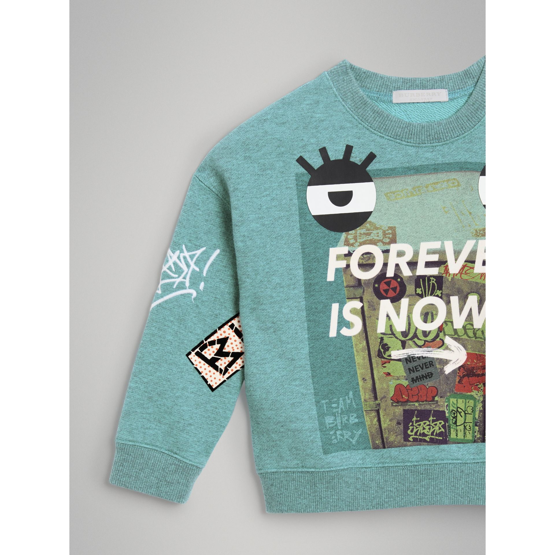 Forever is Now Print Cotton Sweatshirt in Turquoise | Burberry United States - gallery image 4