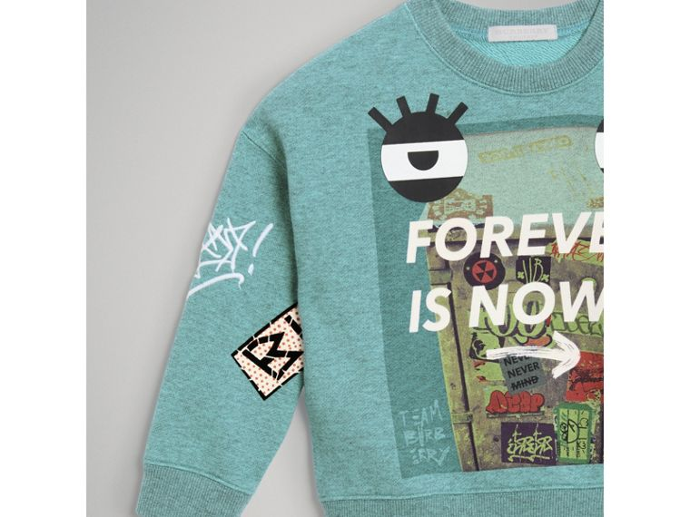 Forever is Now Print Cotton Sweatshirt in Turquoise - Girl | Burberry - cell image 4
