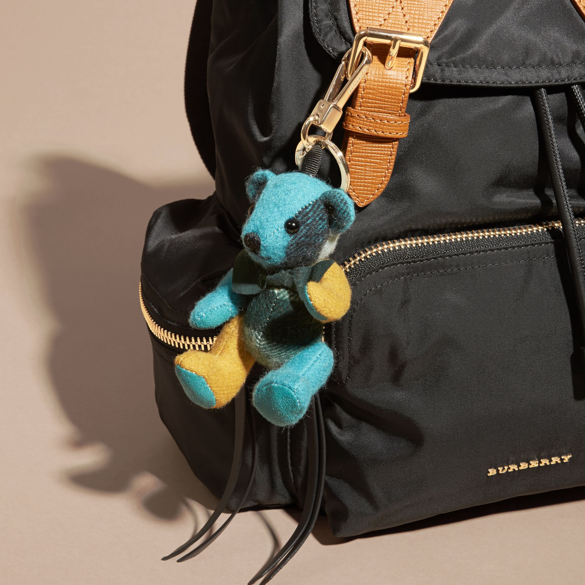 Dark aqua Thomas Bear Charm in Colour Block Check Cashmere Dark Aqua - gallery image 3