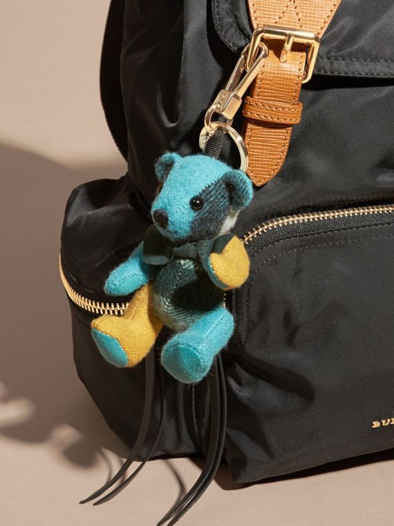 Dark aqua Thomas Bear Charm in Colour Block Check Cashmere Dark Aqua - cell image 2