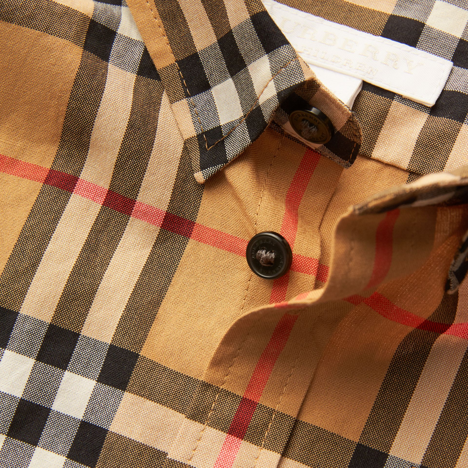 Vintage Check Cotton Shirt in Antique Yellow | Burberry United Kingdom - gallery image 1