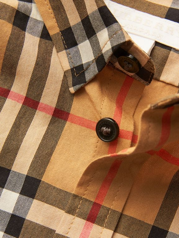 Vintage Check Cotton Shirt in Antique Yellow | Burberry United Kingdom - cell image 1